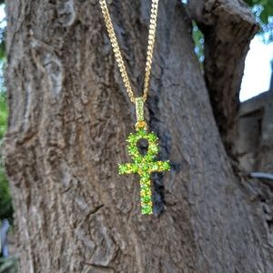 """Other - Iced Out Egyptian Ankh & 20"""" Cuban Chain"""